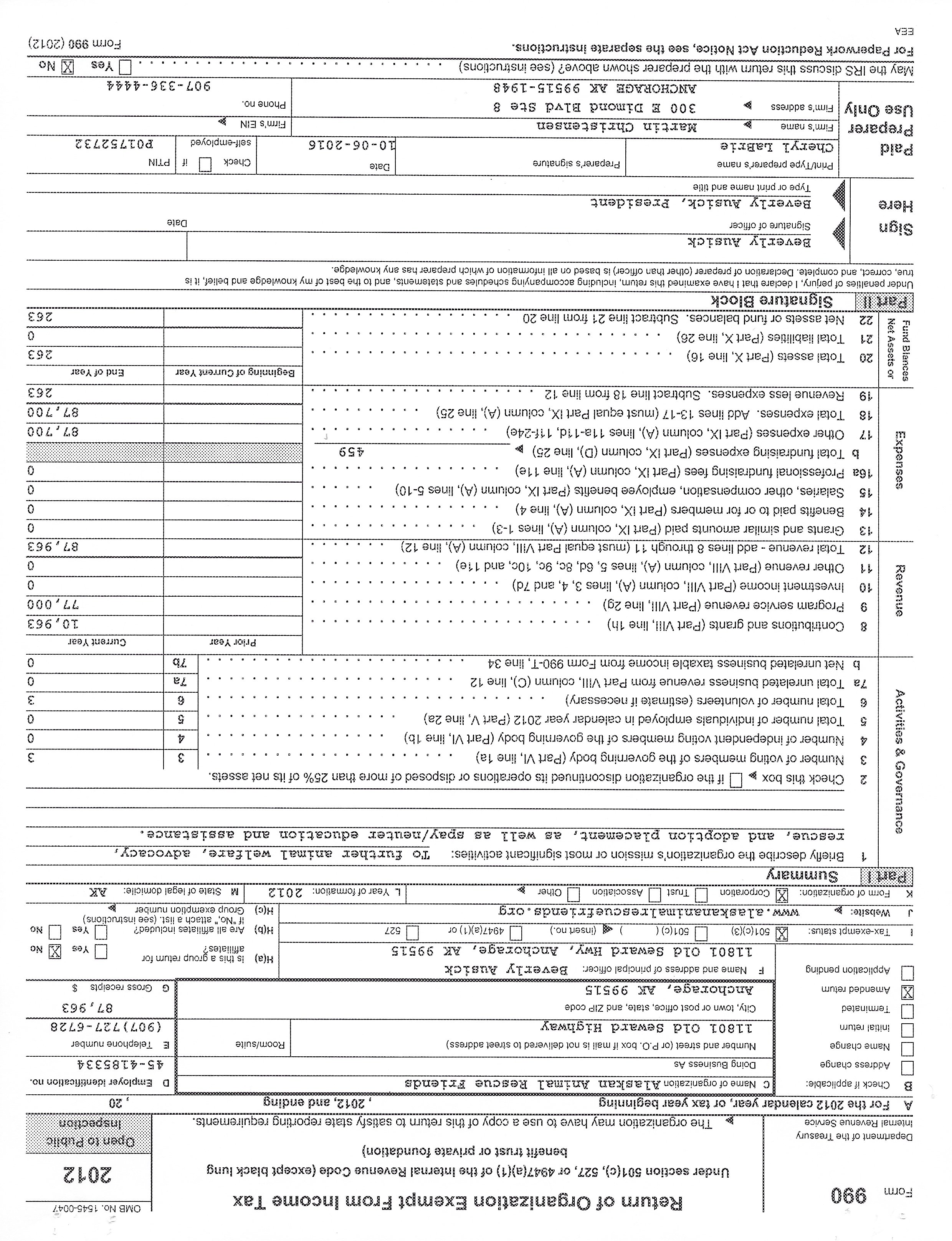Our 990 forms our irs form 990 for 2012 falaconquin